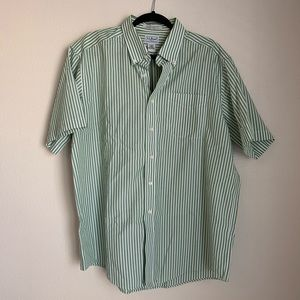 L.L. Bean striped short sleeve button down shirt